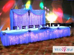 Dekoracja ślubna kościoła, pokrowce na krzesła, klecznik