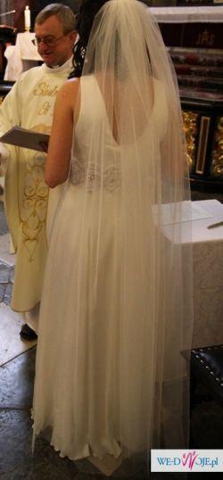 Delikatna i oryginalna suknia ślubna Agnes 1872 rozm. 36