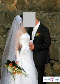 Delikatna i piękna suknia ślubna + dodatki