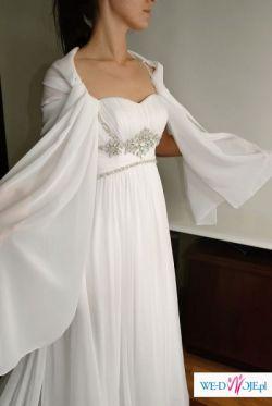 Delikatna, zwiewna suknia ślubna z muślinu z kryształkami rozmiar 160/36