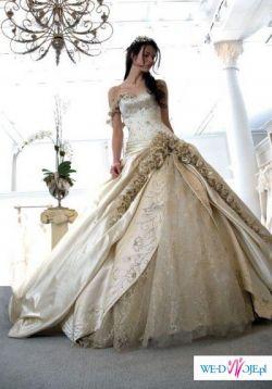 Dla księżniczki złota-ecru suknia ślubna szyta na miarę z ekskluzywną halką