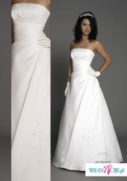 dla wysokiej elegancka, prosta, wygodna i lekka suknia ecru + welon + halka