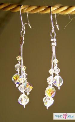 Długie srebrne kolczyki z kryształkami swarovskiego