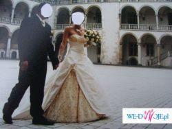 Dwukolorowa suknia ślubna z trenem