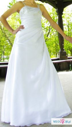 Efektowna suknia ślubna dla wysokiej pani, 36-40, GRATISY