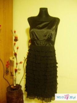 Elegancka czarna sukienka z falbanami, rozm. 40