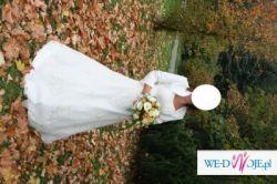 Elegancka, dwuczęściowa suknia firmy Aleksandra, kolekcja 2006, w kolorze ecru