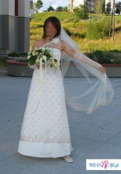 Elegancka, francuska suknia slubna w kolorze ecru. Rozmiar 40