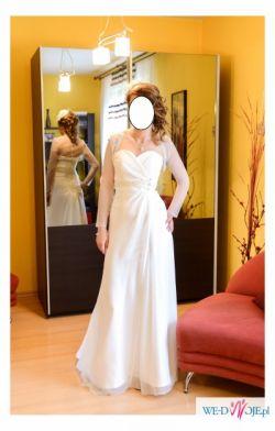 Elegancka i zwiewna suknia ślubna + bolerko+ toczek