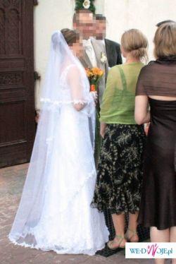 elegancka, koronkowa, biała suknia ślubna WYSZYWANA KRYSZTAŁKAMI rozm 36/38