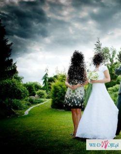 Elegancka koronkowa suknia ślubna, biały 38 OKAZJA