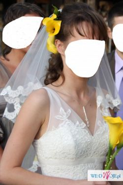 Elegancka, koronkowa suknia slubna+welon+halka GRATIS