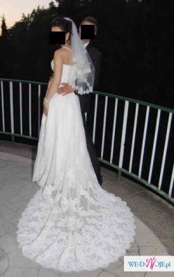 Elegancka,koronkowa suknia z pięknem długim trenem -roz.36-38