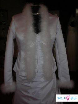 elegancka satynowa kurtka ślubna