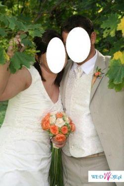 Elegancka suknia ślubna 48/50 ecru   Sprzedam