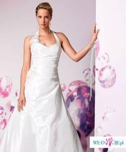 Elegancka suknia ślubna z jedwabnej tafty