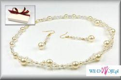 Elegancki Komplet Ślubnej Biżuterii Ecru