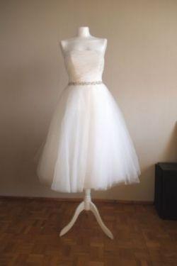 Eteryczna suknia ślubna tiulowa S-M 50's