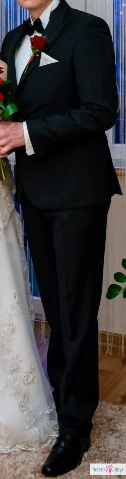 Garnitur ślubny + koszula +mucha 176cm