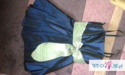 granatowa sukienka z tiulem i bolerkiem