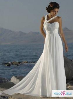 grecka zwiewna suknia ślubna empire