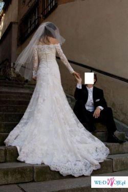 Hiszpańska Koronkowa Suknia Pronovias, model: India + Bolerko