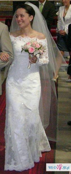 Hiszpańska Suknia ślubna Koronka Ecru Pronovias Rozmiar 34 Suknie