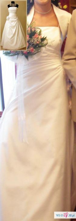 Jednoczesciowa biala suknia