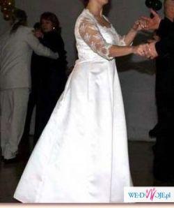 Jednoczęściowa, biała suknia ślubna