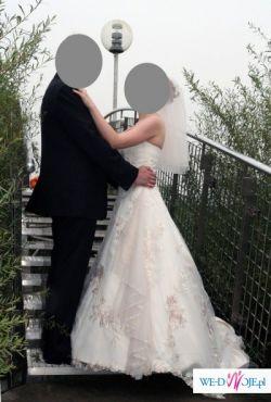 jednoczęściowa suknia ślubna, kolor capucino wzrost 160 plus 7 cm obcas, lekka