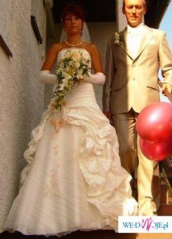 jednoczęściowa suknia ślubna plus dodatki, roz.36 Tarnowskie Góry