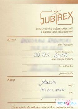 JUBIREX KUPON ZNIŻKOWY 20% NA OBRĄCZKI ŚLUBNE