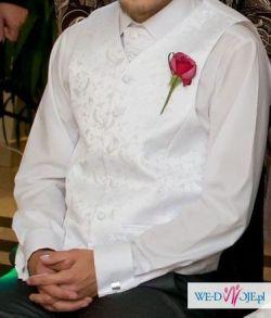 kamizelka ślubna biała plus musznik i butonierka