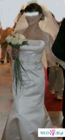 klasyczna, jednoczęsciowa suknia śubna  w rozmiarze 38 w odcieniu jasnego erie