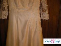 Klasyczna, koronkowa suknia w kolorze ecru, rozmiar 38/40, przepiękna