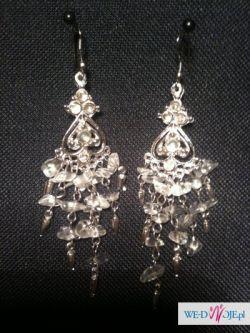 KOLCZYKI KANDELABRY nowe, ślubne, z kryształkami NR 1