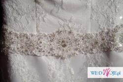 koronkowa suknia ślubna Agnes 10822, bolerko, welon, buty GRATIS!