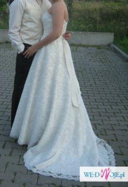 Koronkowa suknia ślubna + dodatki