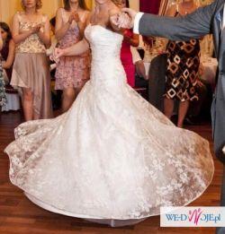 Koronkowa suknia ślubna Justin Alexander model 8344 z długim trenem