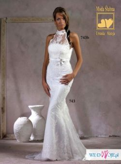 koronkowa suknia ślubna-MADONNA style,syrena,biała
