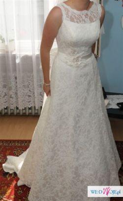 Koronkowa suknia ślubna, rozmiar 38