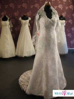 ***KORONKOWA suknia ślubna z TRENEM*** może byc Twoja za mniej niż połowa ceny!!