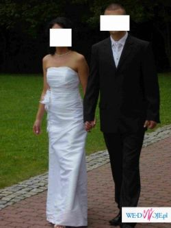 Koszalin -suknia ślubna -elegancka i skromna, biała tafta