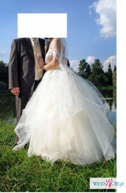 Królewska suknia za grosze!!! rozm.38, kolor ecru