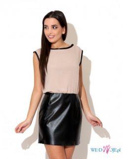 Krótka elegancka sukienka ze wstawkami - ecru, beżowa