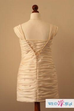 Krótka suknia ślubna ecru