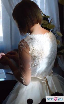 Krótka suknia ślubna ecru beż śmietankowa rozm S