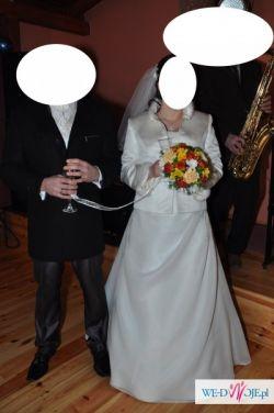 Ładna suknia ślubna rozm. 42/44 (jasne ecru)