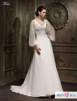 215060c750 Maia Suknia ślubna Sznurowana Tafta Bolerko Tiul Suknie ślubne