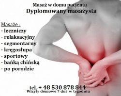 Masaż leczniczy kręgosłupa -Ursynów Natolin,Dojazd ,Wizyty Domowe